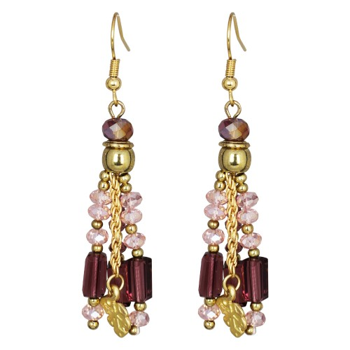 Tickling Tassels Glass Amythest Earrings