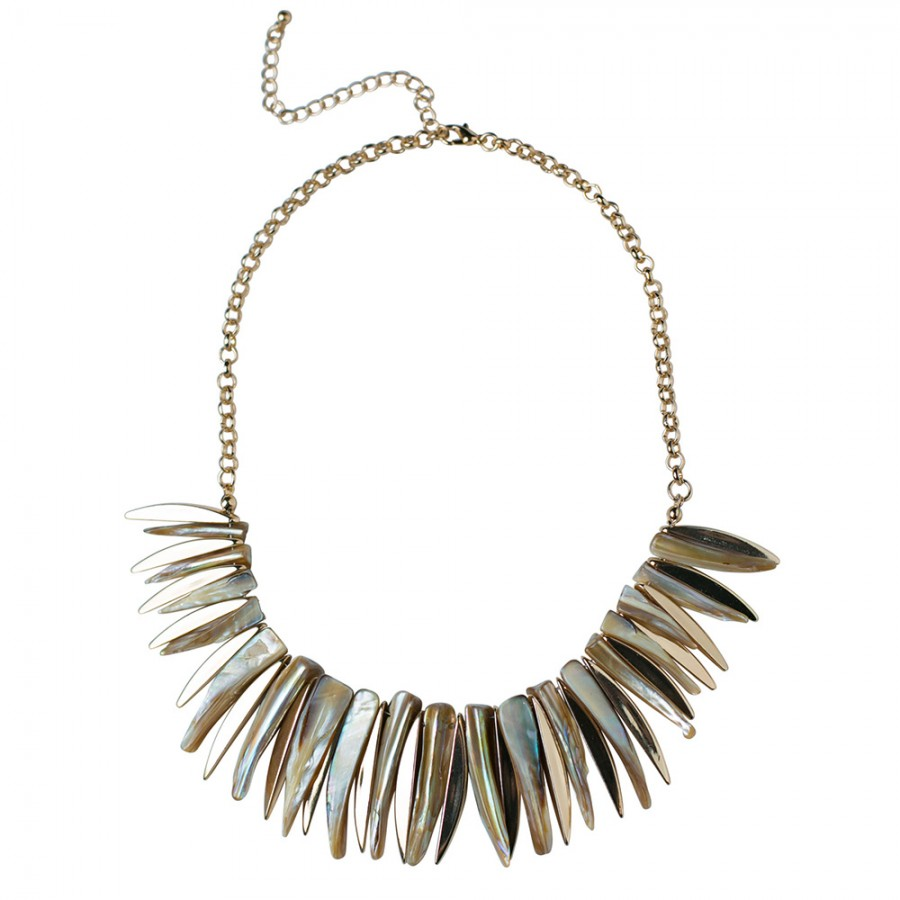 Tribal Necklace With Genuine Shell Spikes