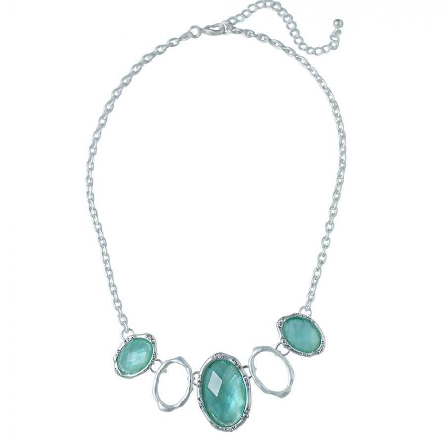Azure Frost Matte Silver Frost Oval Necklace