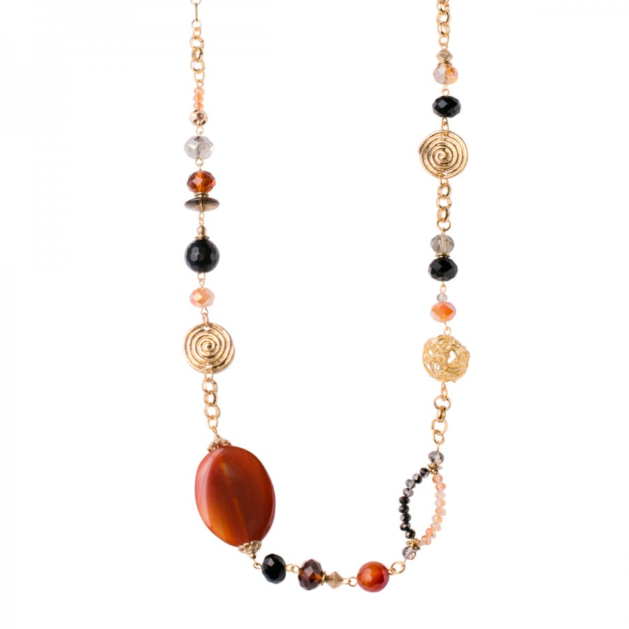 "Swirl Circles 30"" Gold Swirls/Russet Necklace"