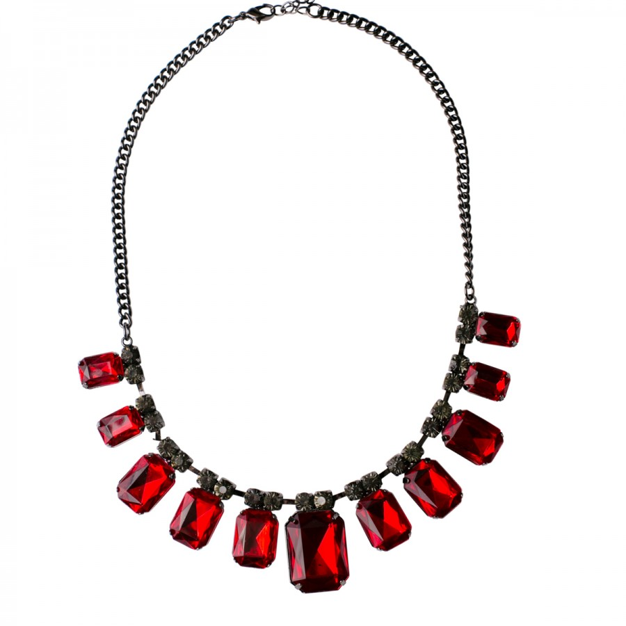 Bejeweled Nickel Emerald Cut Necklace