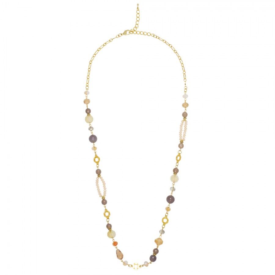 Neutral Naturals Beads/Gold Necklace
