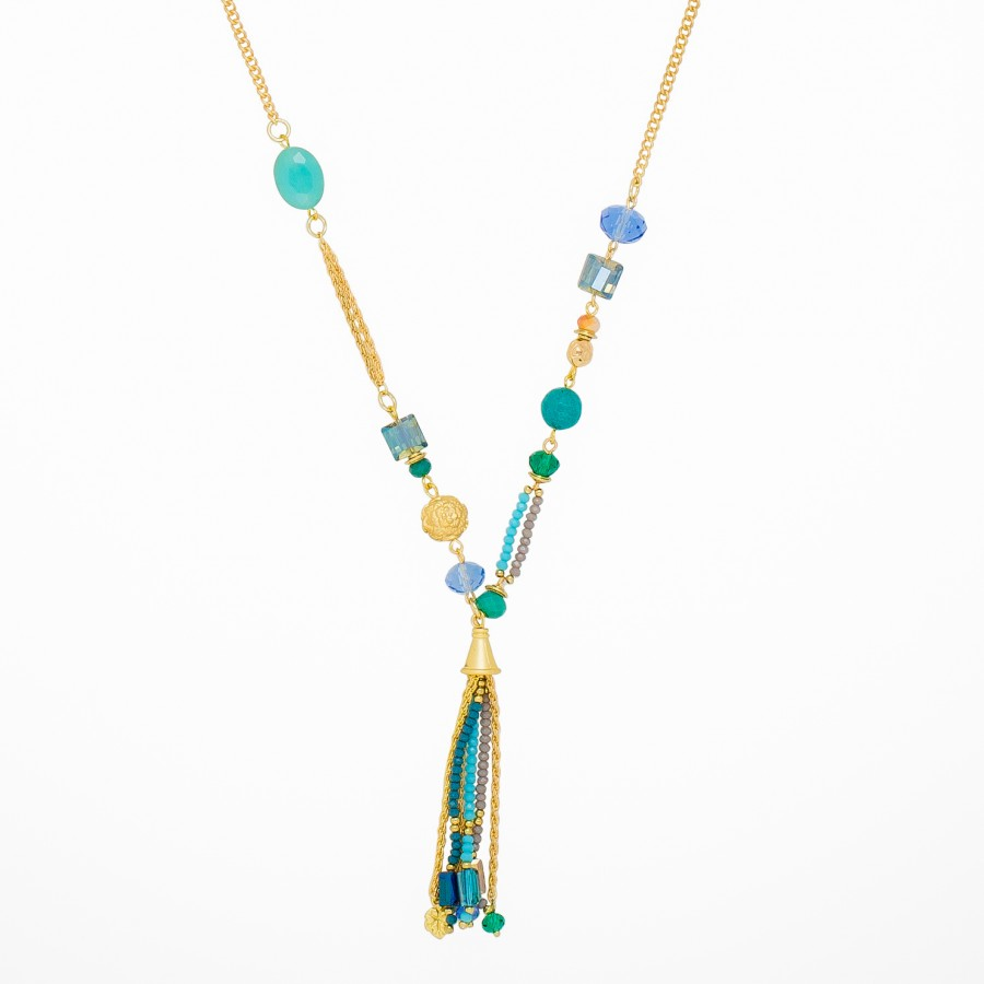 Tickling Tassels Glass Turquoise Necklace