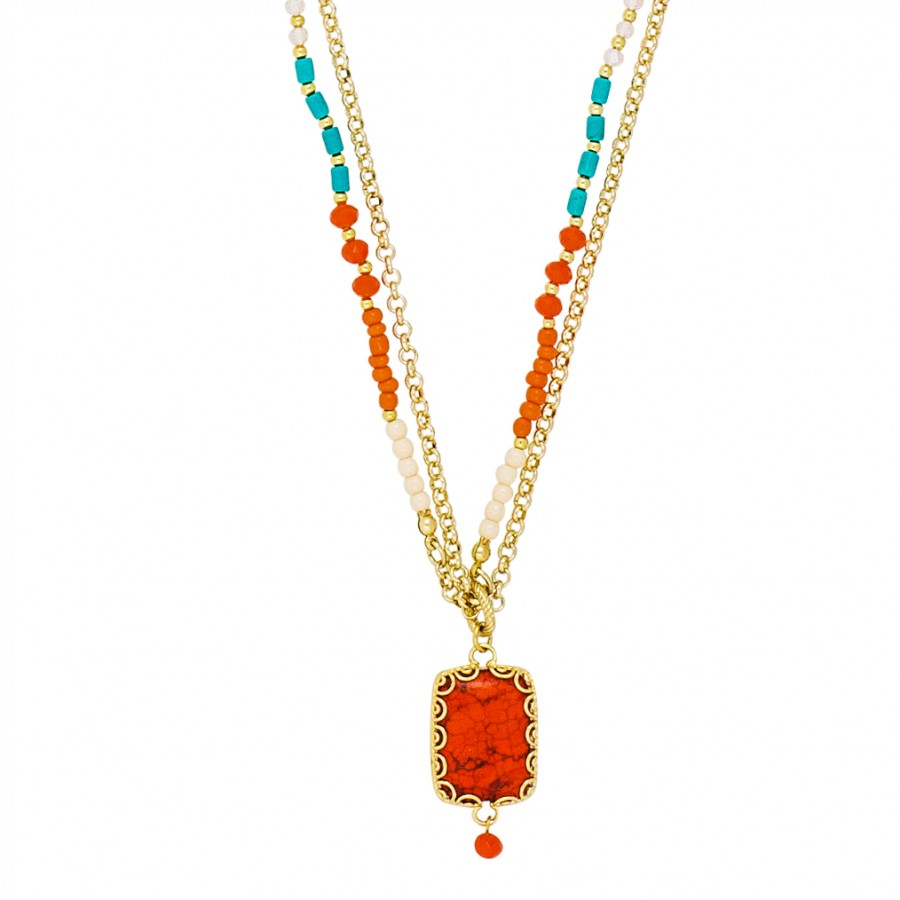 Scallops Coral/Turquoise/Ivory Pendant