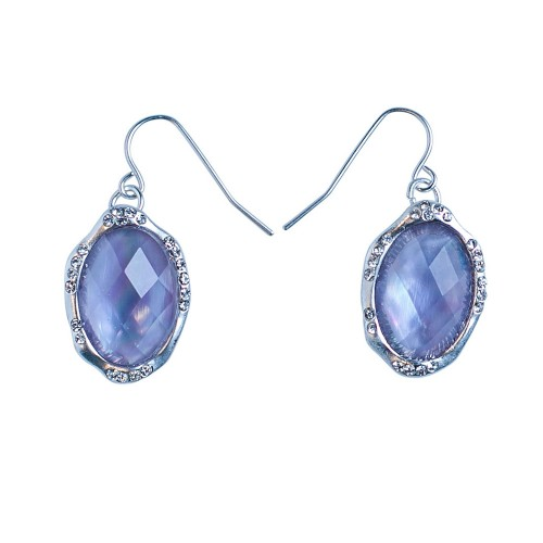 Lilac Frost Oval Pendant Fishhook Earrings