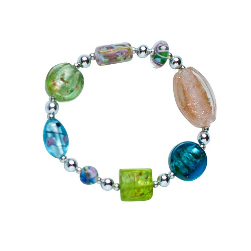 Artistic Silver Glass Bead Mix Bracelet