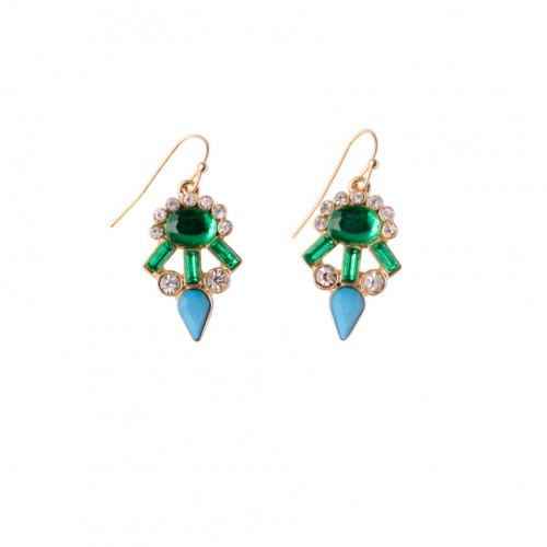 Peacock Drop Fishhook Earrings In Harvest And Peacock Mix