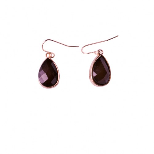 Teardrops Ruby Earrings With Gold Chain