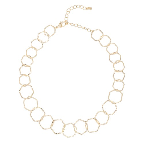 Hexagon Links Gold Necklace
