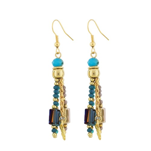 Tickling Tassels Glass Turquoise Earrings
