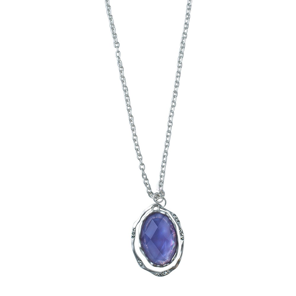 Lilac Frost Oval Pendant With Crystal Accents