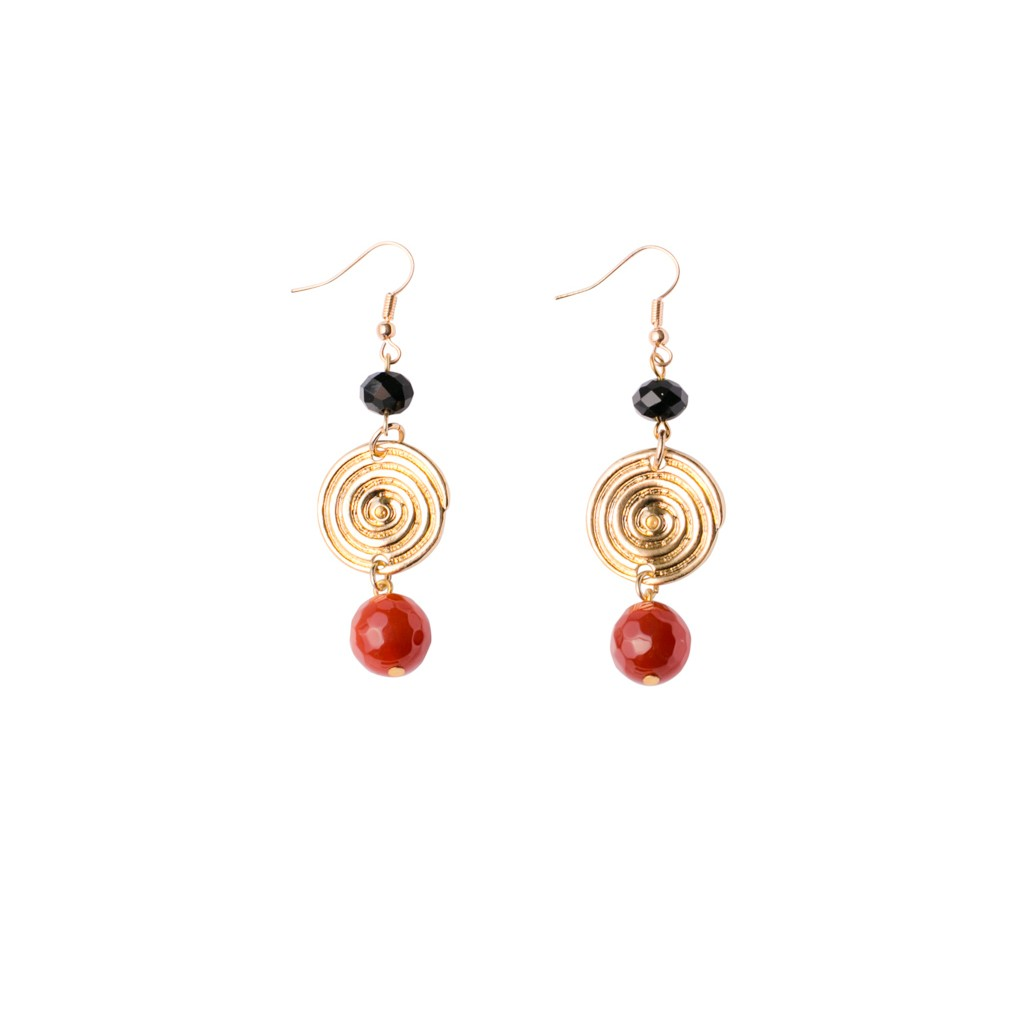 Swirl Circles Swirl/Russet Fishhook Earrings