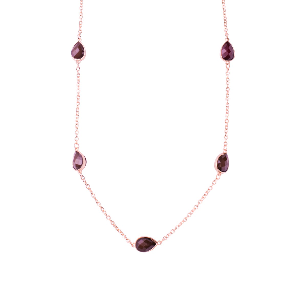 Teardrops Ruby Necklace With Gold Chain