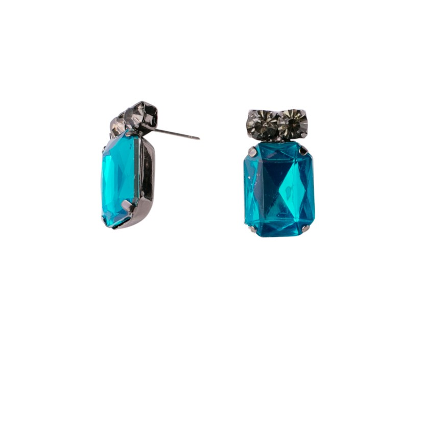 Bejeweled Nickel Emerald Cut Earrings
