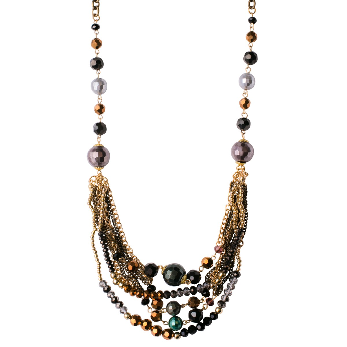 Metallic Mix Necklace With Festoon Front