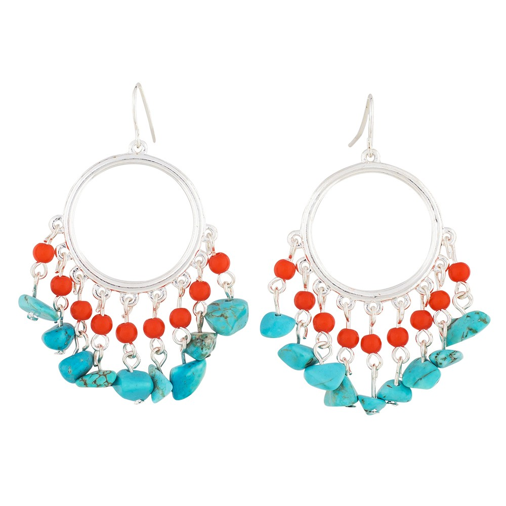 Southwest Charm Hoop Earrings In Turquoise and Coral