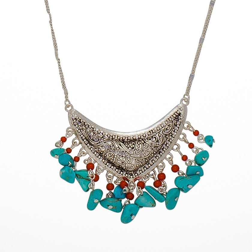 Southwest Charm Necklace In Turquoise and Coral