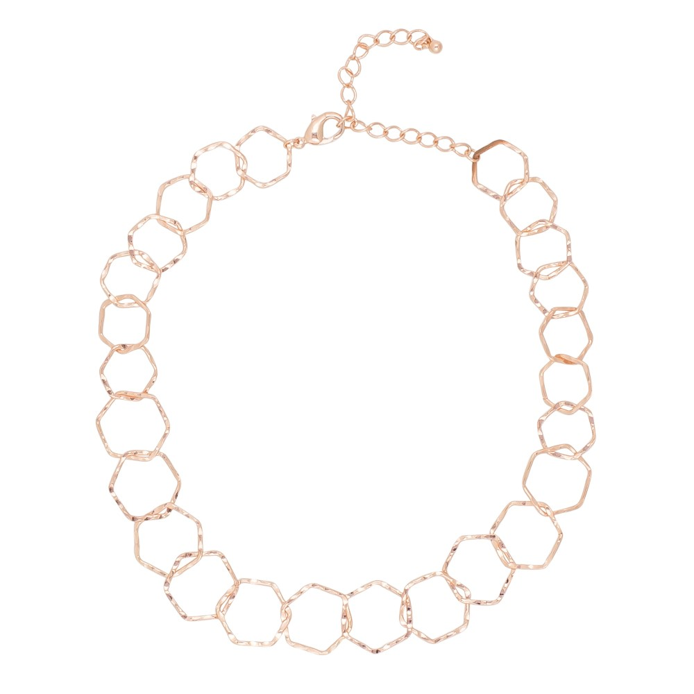 Hexagon Links Rose Gold Necklace